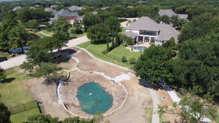 Residential Pond Construction image in Fort Worth